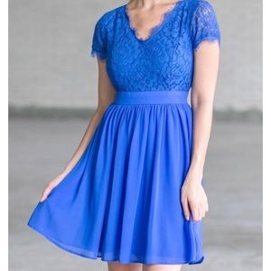 Filly Flair • Blue Lace Fit and Flair Dress